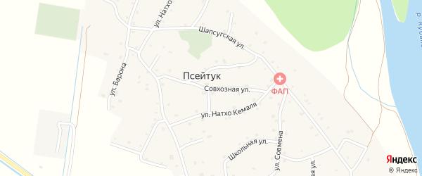 Совхозная улица на карте аула Псейтука с номерами домов