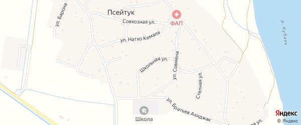 Переулок Братьев Ахиджак на карте аула Псейтука Адыгеи с номерами домов