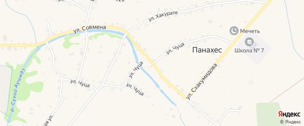 Улица А.Б.Чуца на карте аула Панахес с номерами домов