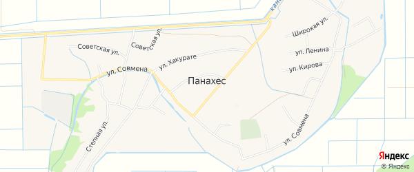 Карта аула Панахес в Адыгее с улицами и номерами домов