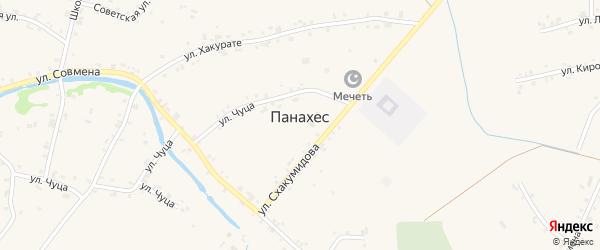 Хаштукская улица на карте аула Панахес Адыгеи с номерами домов