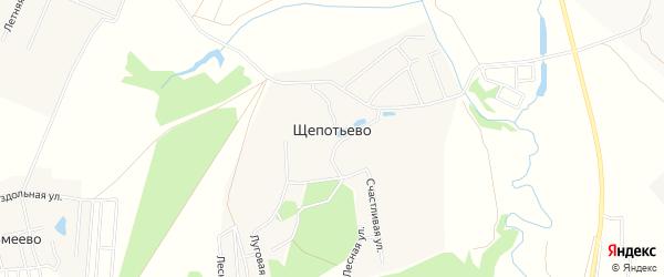 Карта деревни Щепотьево города Коломны в Московской области с улицами и номерами домов