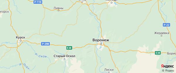 Карта Семилукский района Воронежской области с городами и населенными пунктами