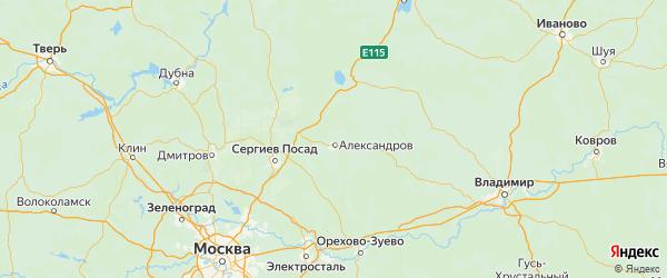 Карта Александровского района Владимирской области с городами и населенными пунктами