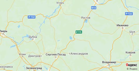 Карта Переславского района Ярославская области с городами и населенными пунктами