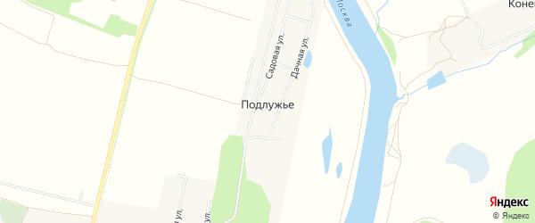 Карта деревни Подлужье города Коломны в Московской области с улицами и номерами домов