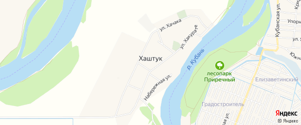 Карта аула Хаштука в Адыгее с улицами и номерами домов