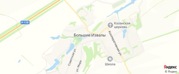 Карта села Большие Извалы в Липецкой области с улицами и номерами домов
