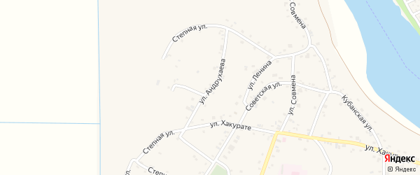 Улица Андрухаева на карте аула Афипсипа Адыгеи с номерами домов
