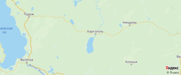 Карта Каргопольского района Архангельской области с населенными пунктами и городами