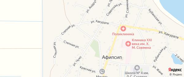 Ленина 1-й переулок на карте аула Афипсипа Адыгеи с номерами домов