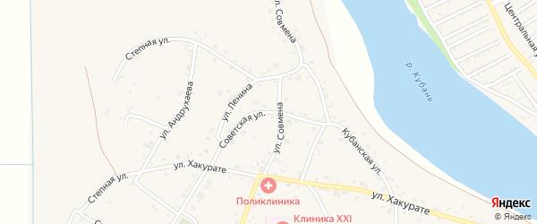 Советская улица на карте аула Афипсипа Адыгеи с номерами домов
