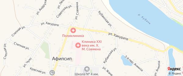 Советский переулок на карте аула Афипсипа Адыгеи с номерами домов