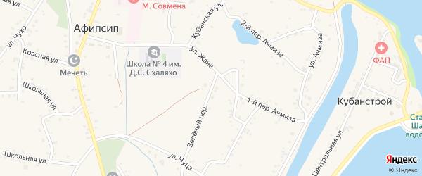 Зеленый переулок на карте аула Афипсипа Адыгеи с номерами домов
