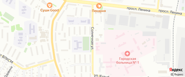 Солнечная улица на карте Рыбинска с номерами домов