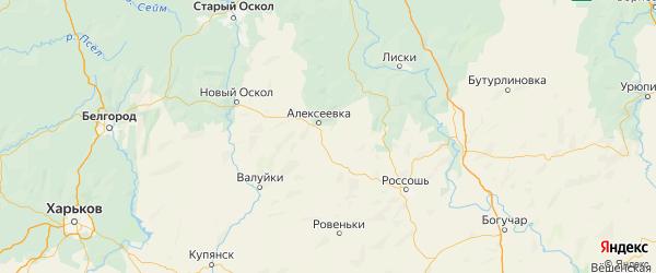 Карта Алексеевского района Белгородской области с городами и населенными пунктами