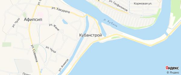 Карта Кубаньстроя поселка в Адыгее с улицами и номерами домов