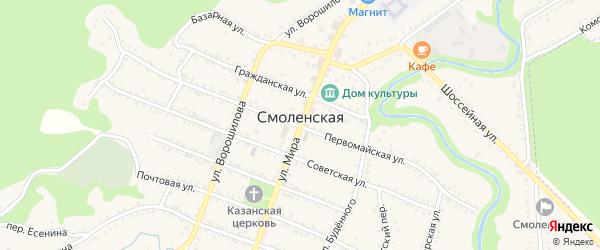 Речная улица на карте Смоленской станицы Краснодарского края с номерами домов