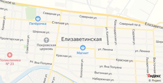 Карта станицы Елизаветинская в Краснодаре с улицами, домами и почтовыми отделениями со спутника онлайн