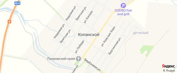 Карта Копанского хутора города Краснодара в Краснодарском крае с улицами и номерами домов