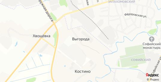 Карта деревни Выгорода в Ярославская области с улицами, домами и почтовыми отделениями со спутника онлайн
