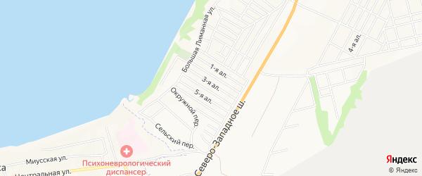 Карта поселка Лимана города Таганрога в Ростовской области с улицами и номерами домов
