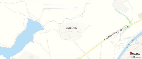 Карта деревни Якшино города Зарайска в Московской области с улицами и номерами домов