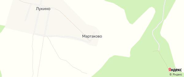 Карта деревни Мартаково в Архангельской области с улицами и номерами домов
