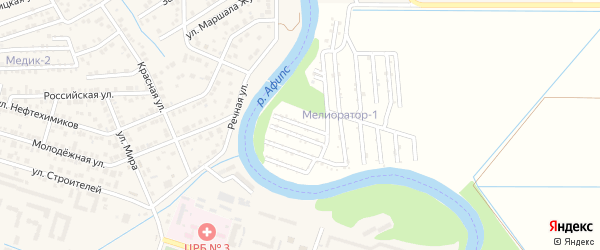 Грушевая улица на карте садового некоммерческого товарищества Мелиоратор (Старобжегокайское с/п) с номерами домов