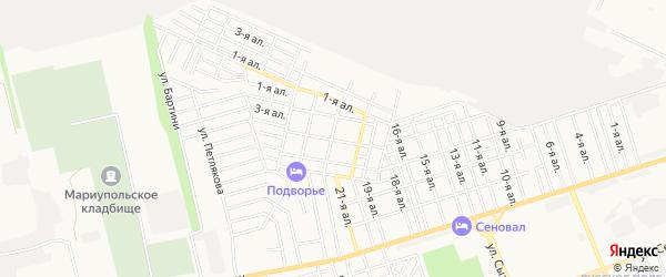 Карта поселка Работника просвещения города Таганрога в Ростовской области с улицами и номерами домов