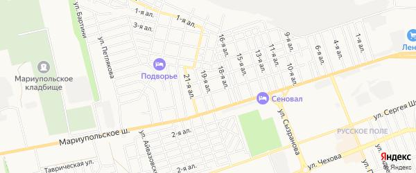 Карта поселка Восхода города Таганрога в Ростовской области с улицами и номерами домов
