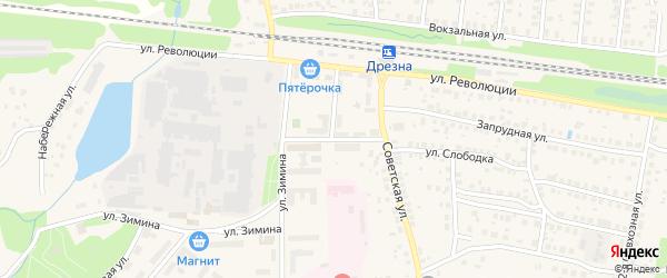 Больничный проезд на карте Дрезны с номерами домов