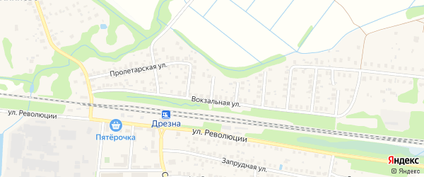 Вокзальный 2-й проезд на карте Дрезны с номерами домов