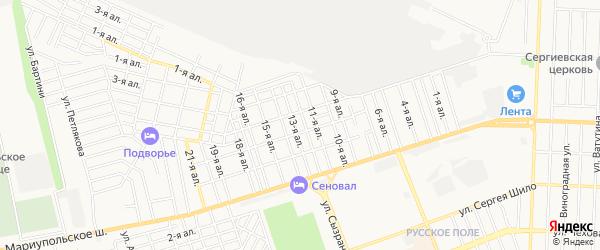 Карта поселка Золотой осени города Таганрога в Ростовской области с улицами и номерами домов