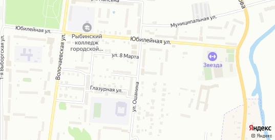Улица Юбилейная/Ошанина в Рыбинске с номерами домов на карте. Спутник и схема онлайн
