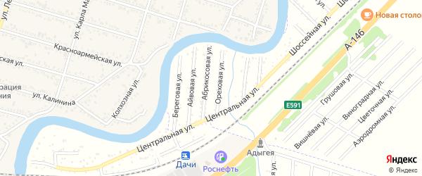 Железнодорожная улица на карте Берега Афипса Адыгеи с номерами домов
