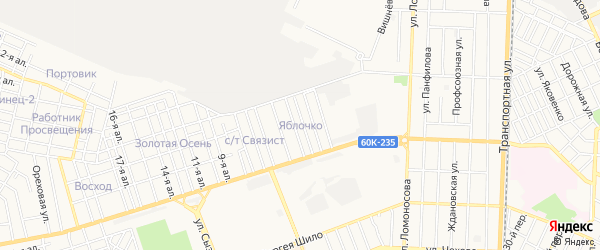 Карта поселка Яблочка города Таганрога в Ростовской области с улицами и номерами домов
