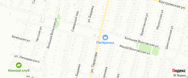Тарасова/Малая Вонговская улица на карте Рыбинска с номерами домов