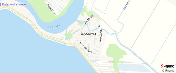 Территория СНТ Рассвет (рыбсовхоз) на карте хутора Хомуты Адыгеи с номерами домов
