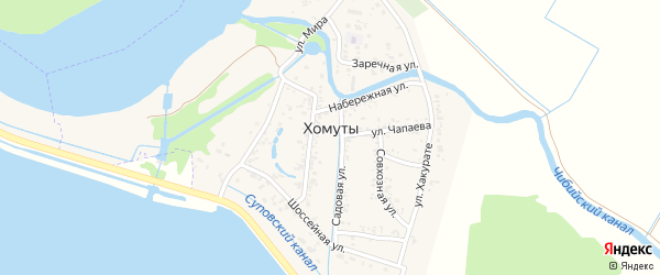 Южная улица на карте хутора Хомуты Адыгеи с номерами домов