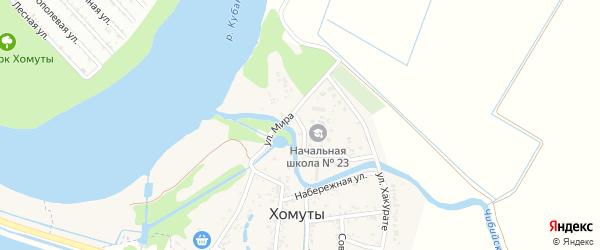 Заречная улица на карте хутора Хомуты Адыгеи с номерами домов