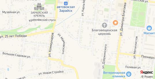 Краснопрудный переулок в Зарайске с номерами домов на карте. Спутник и схема онлайн