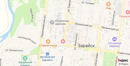 Улица К.Маркса в Зарайске с номерами домов на карте. Спутник и схема онлайн