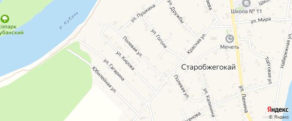 Полевая улица на карте Прогресса Адыгеи с номерами домов
