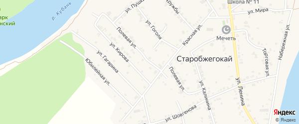 Полевая улица на карте аула Старобжегокай Адыгеи с номерами домов