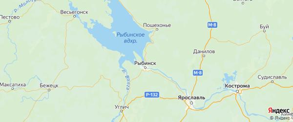 Карта Рыбинского района Ярославская области с городами и населенными пунктами