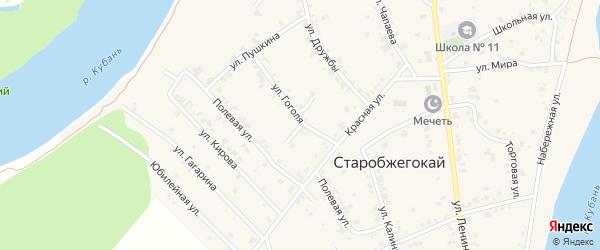 Космическая улица на карте аула Старобжегокай Адыгеи с номерами домов