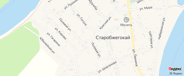 Красная улица на карте аула Старобжегокай Адыгеи с номерами домов