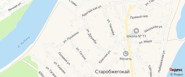 Улица Дружбы на карте аула Старобжегокай Адыгеи с номерами домов