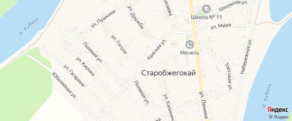 Красная улица на карте аула Старобжегокай с номерами домов